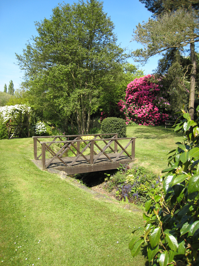 gardens and bridge over stream
